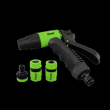Пістолет-розпилювач 3-позиційний + адаптер з різьбою 1/2, 3/4 дюйми та 2 конектора для шланга 1/2 дюйма GARTNER