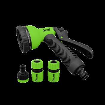 Пістолет-розпилювач 8-позиційний + адаптер з різьбою 1/2, 3/4 дюйми та 2 конектора для шланга 1/2 дюйма GARTNER