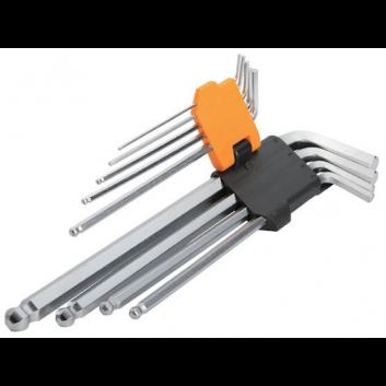 Комплект ключів Торкс із отвором 9 шт. Т10-Т50