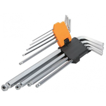 Комплект подовжених ключів торкс із отвором 9 шт т10-т50